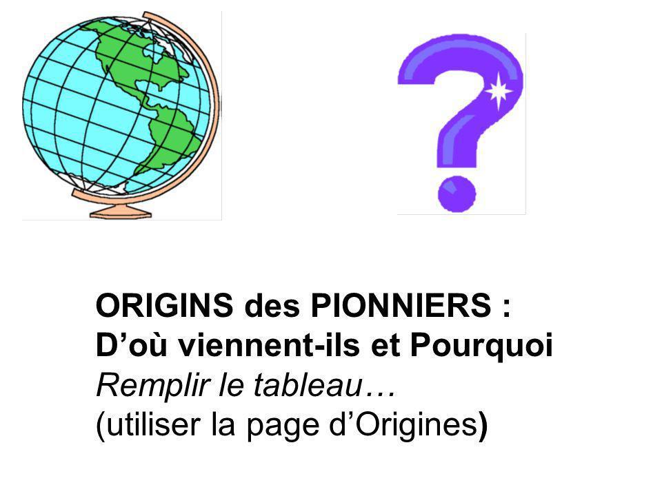 ORIGINS des PIONNIERS :