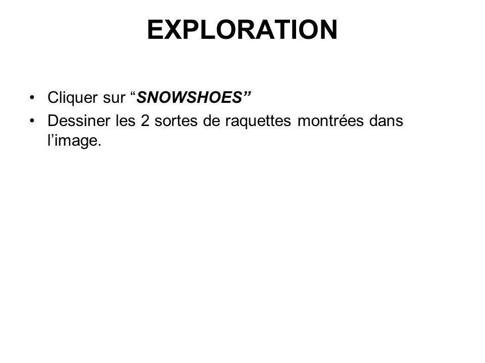 EXPLORATION Cliquer sur SNOWSHOES