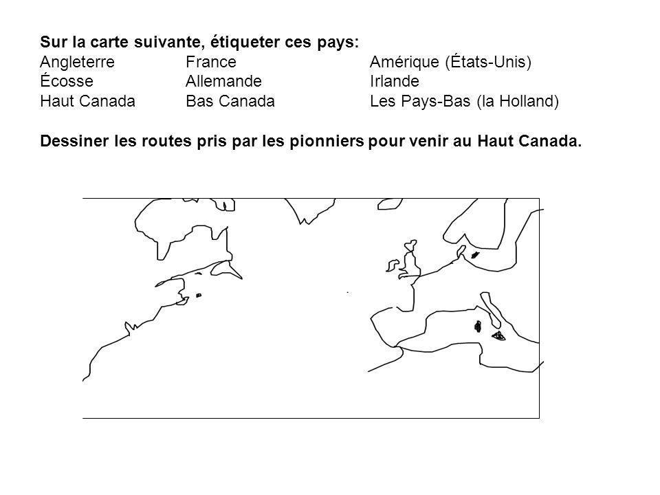 Sur la carte suivante, étiqueter ces pays: Angleterre. France