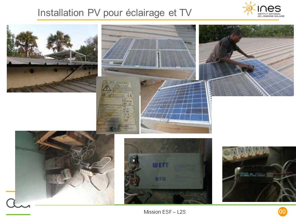 Installation PV pour éclairage et TV