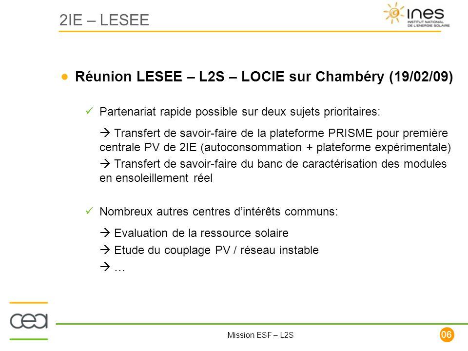 2IE – LESEE Réunion LESEE – L2S – LOCIE sur Chambéry (19/02/09)