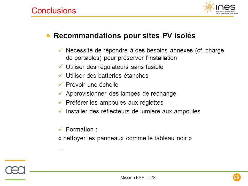 Conclusions Recommandations pour sites PV isolés