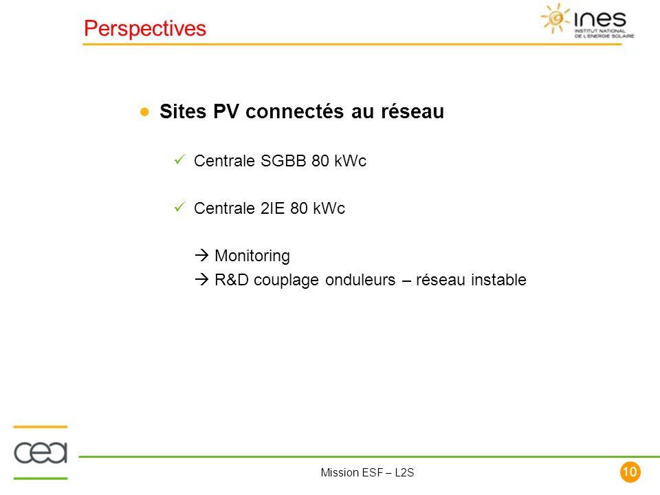 Perspectives Sites PV connectés au réseau Centrale SGBB 80 kWc