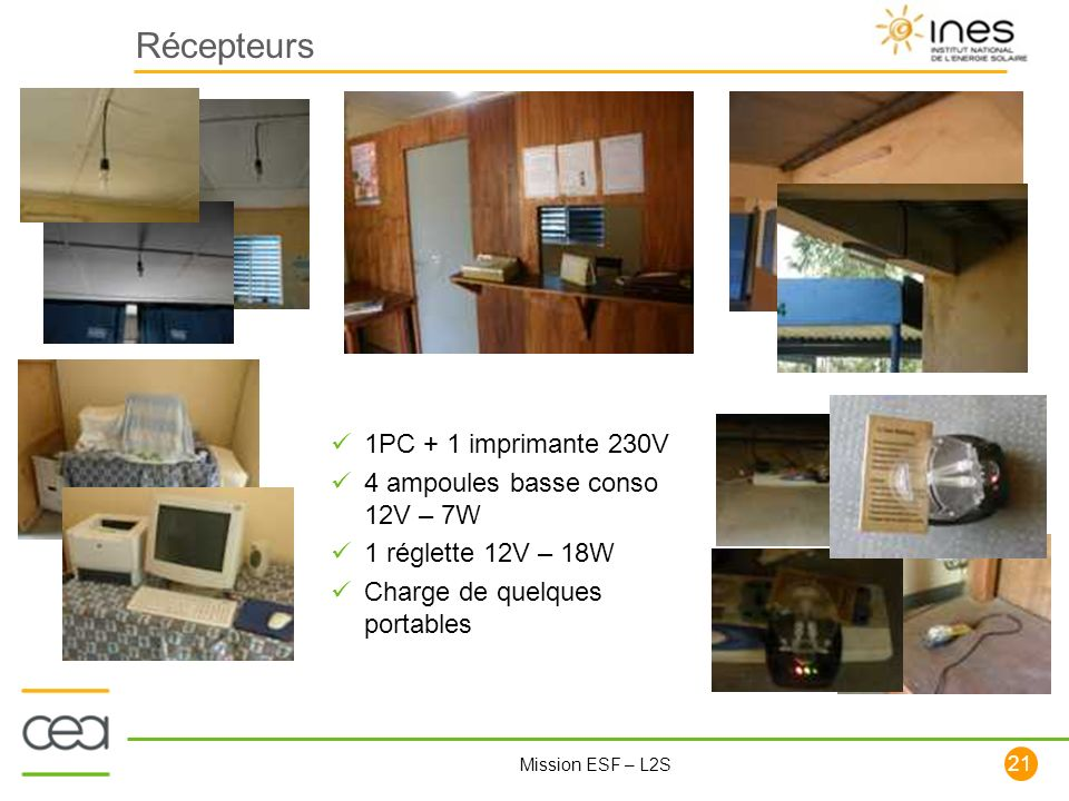 Récepteurs 1PC + 1 imprimante 230V 4 ampoules basse conso 12V – 7W