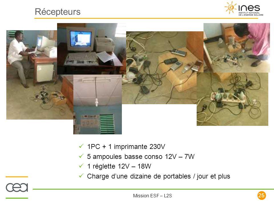 Récepteurs 1PC + 1 imprimante 230V 5 ampoules basse conso 12V – 7W