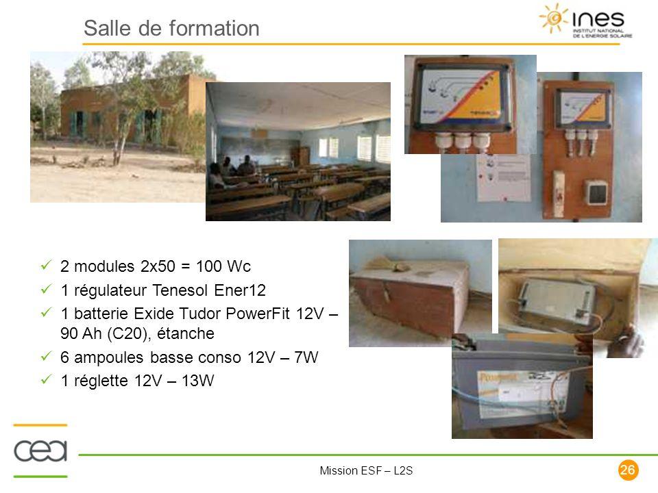Salle de formation 2 modules 2x50 = 100 Wc 1 régulateur Tenesol Ener12