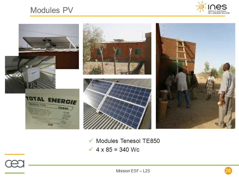Modules PV Modules Tenesol TE850 4 x 85 = 340 Wc