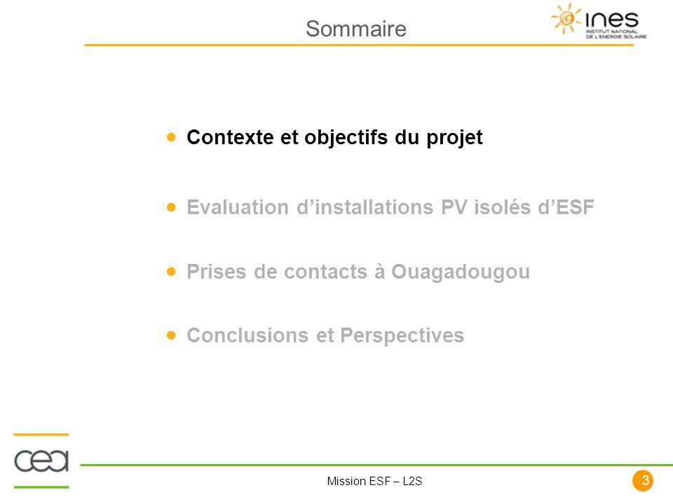 Sommaire Contexte et objectifs du projet