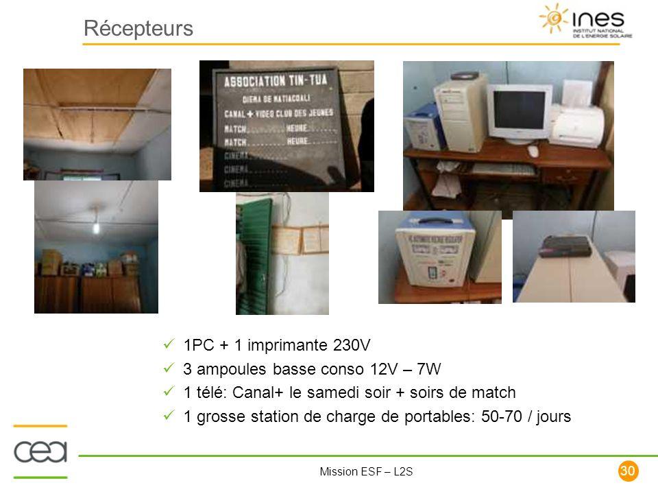 Récepteurs 1PC + 1 imprimante 230V 3 ampoules basse conso 12V – 7W