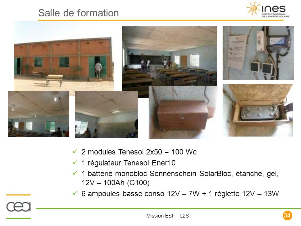 Salle de formation 2 modules Tenesol 2x50 = 100 Wc