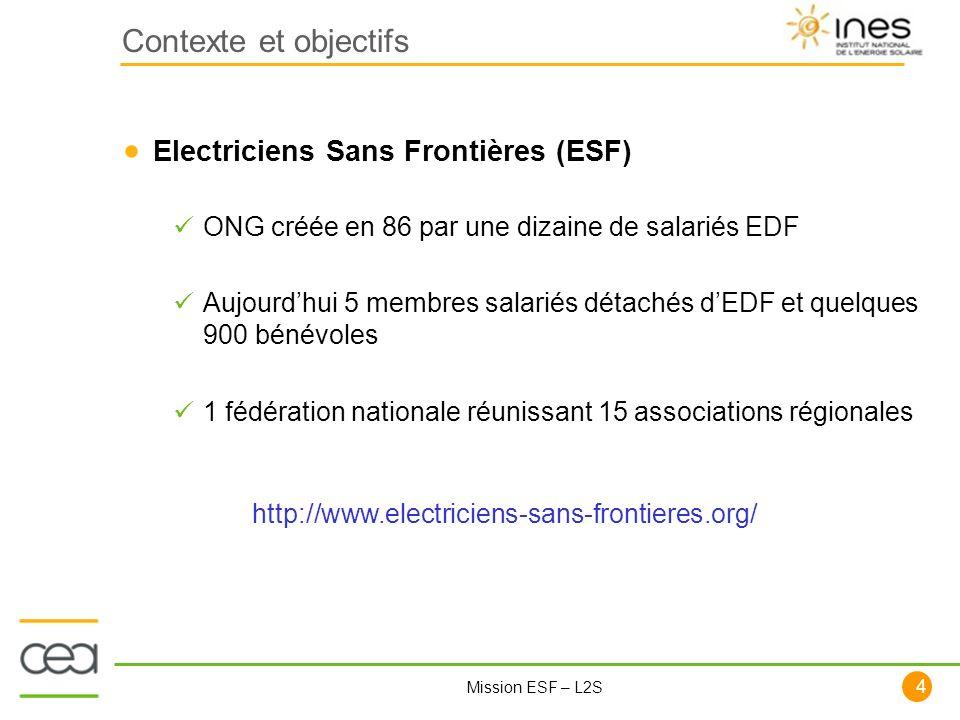 Contexte et objectifs Electriciens Sans Frontières (ESF)