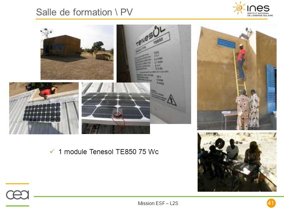 Salle de formation \ PV 1 module Tenesol TE850 75 Wc