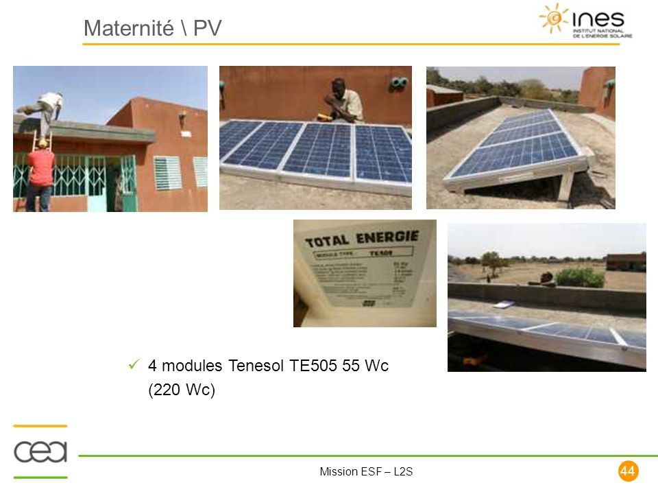 Maternité \ PV 4 modules Tenesol TE505 55 Wc (220 Wc)