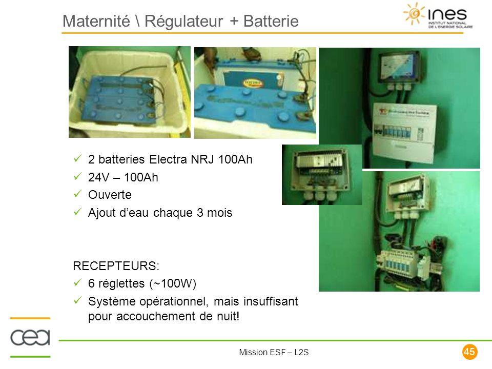 Maternité \ Régulateur + Batterie