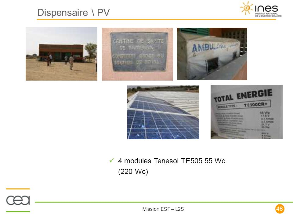 Dispensaire \ PV 4 modules Tenesol TE505 55 Wc (220 Wc)