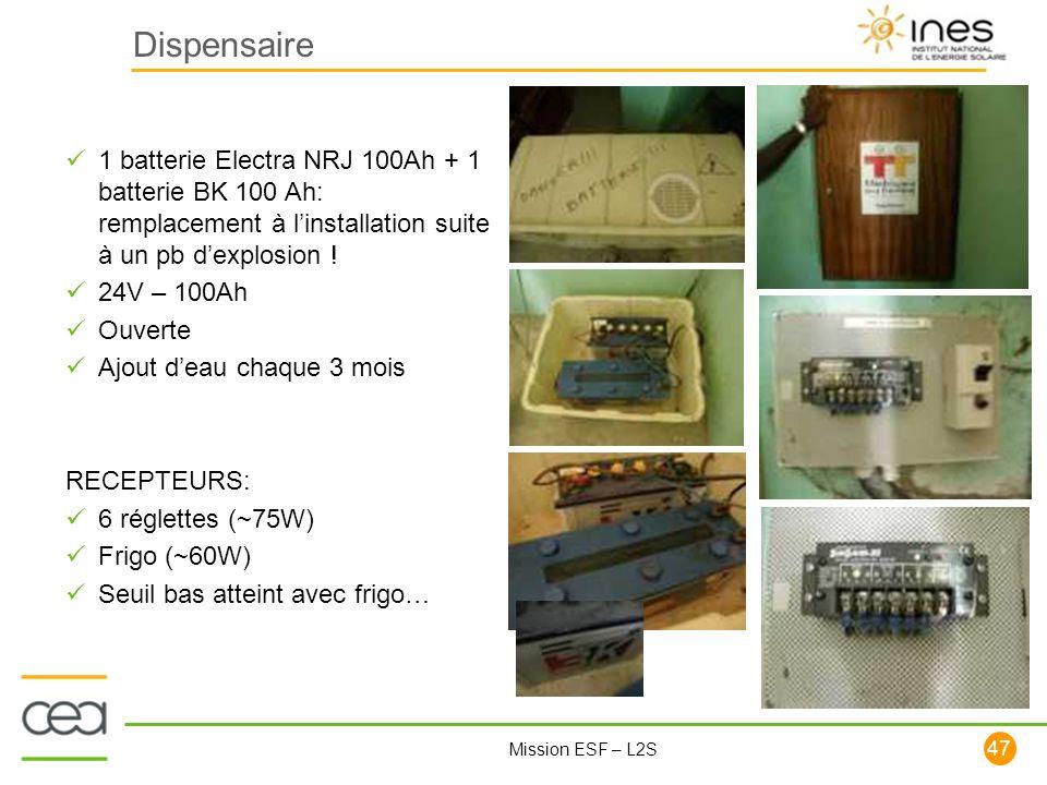 Dispensaire 1 batterie Electra NRJ 100Ah + 1 batterie BK 100 Ah: remplacement à l'installation suite à un pb d'explosion !