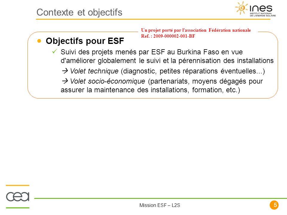 Contexte et objectifs Objectifs pour ESF