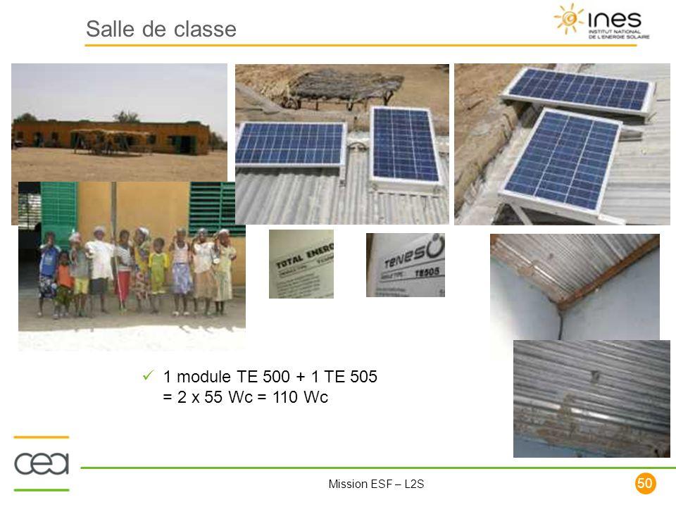 Salle de classe 1 module TE 500 + 1 TE 505 = 2 x 55 Wc = 110 Wc