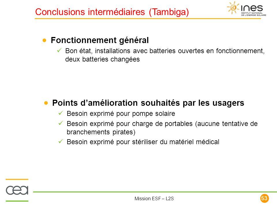 Conclusions intermédiaires (Tambiga)