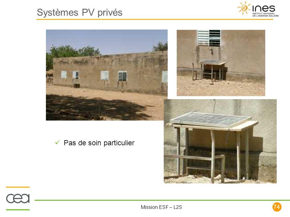 Systèmes PV privés Pas de soin particulier