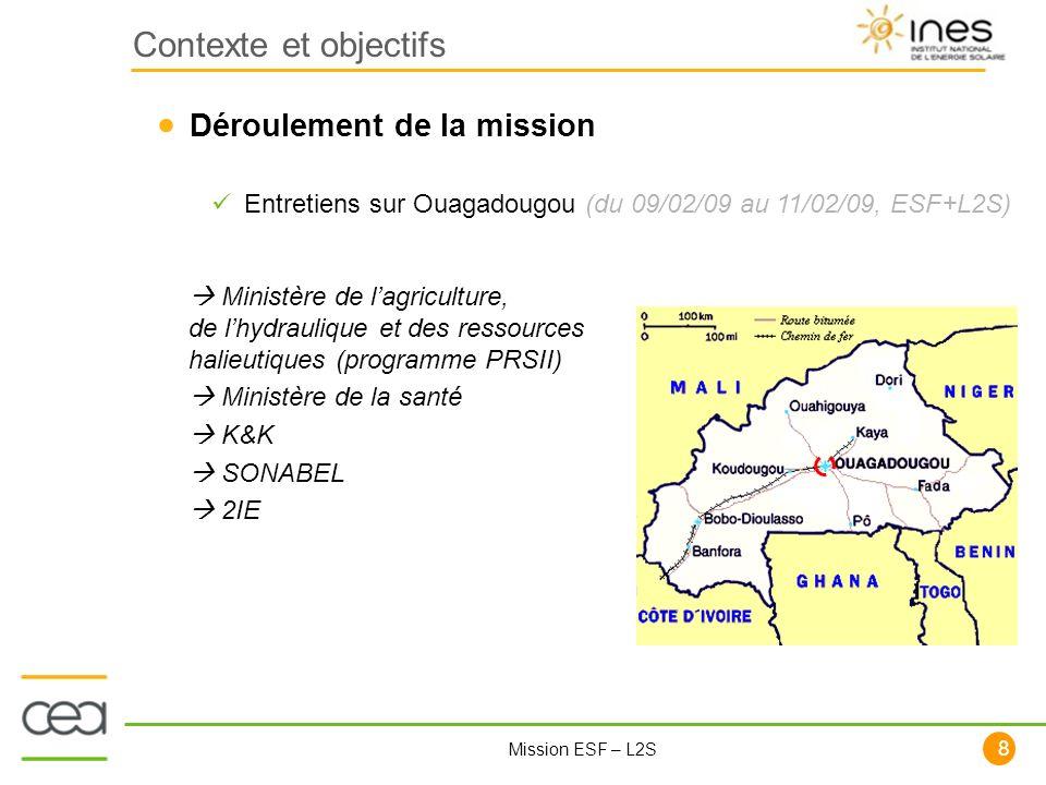 Contexte et objectifs Déroulement de la mission