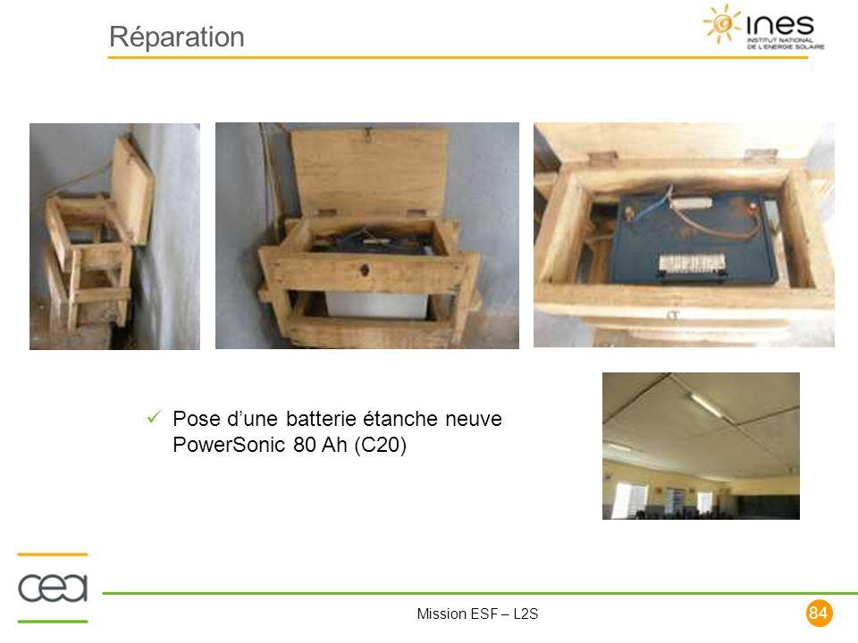 Réparation Pose d'une batterie étanche neuve PowerSonic 80 Ah (C20)