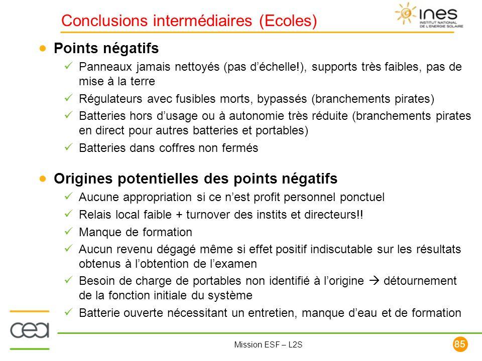 Conclusions intermédiaires (Ecoles)