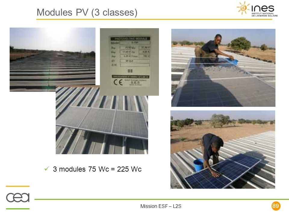 Modules PV (3 classes) 3 modules 75 Wc = 225 Wc