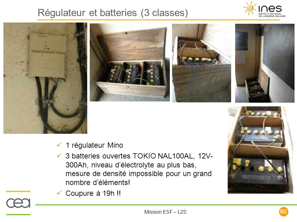 Régulateur et batteries (3 classes)