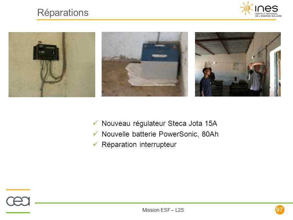 Réparations Nouveau régulateur Steca Jota 15A