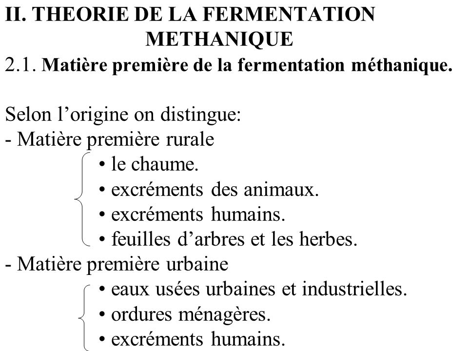 II. THEORIE DE LA FERMENTATION. METHANIQUE 2. 1