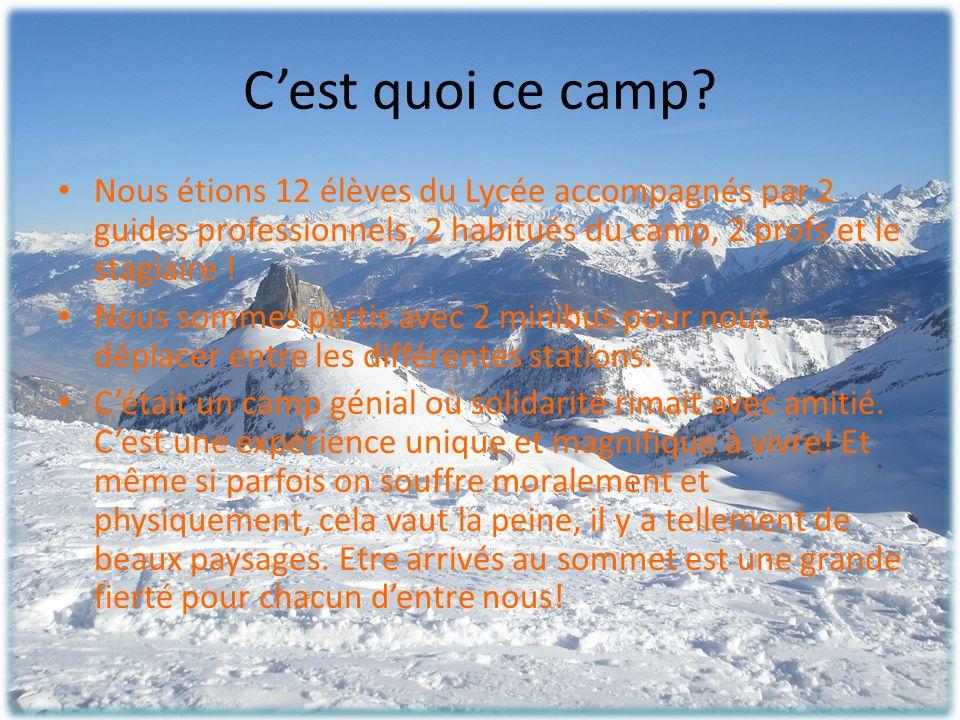 C'est quoi ce camp Nous étions 12 élèves du Lycée accompagnés par 2 guides professionnels, 2 habitués du camp, 2 profs et le stagiaire !