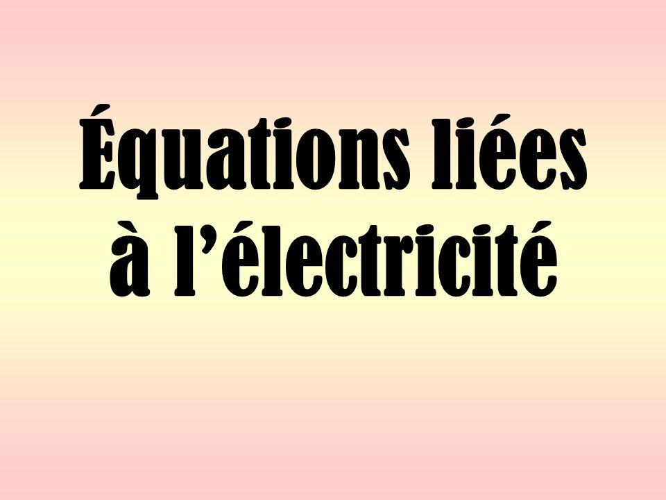 Équations liées à l'électricité