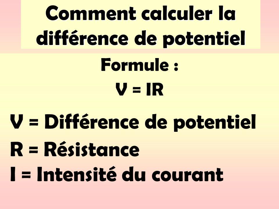 Comment calculer la différence de potentiel