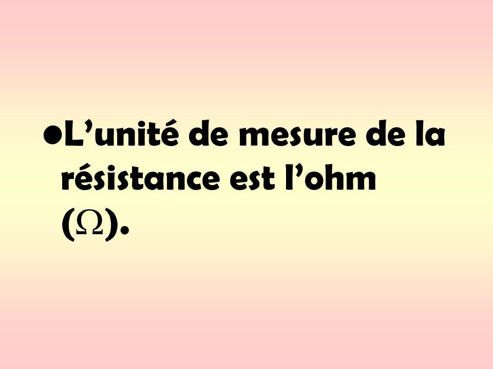 L'unité de mesure de la résistance est l'ohm ().