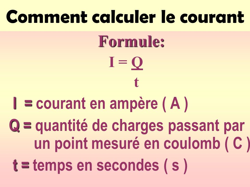 Comment calculer le courant