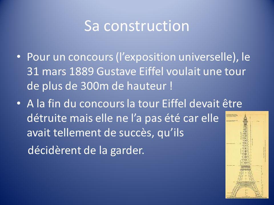 Sa construction Pour un concours (l'exposition universelle), le 31 mars 1889 Gustave Eiffel voulait une tour de plus de 300m de hauteur !