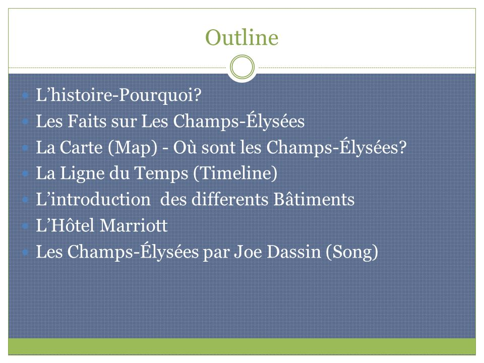 Outline L'histoire-Pourquoi Les Faits sur Les Champs-Élysées