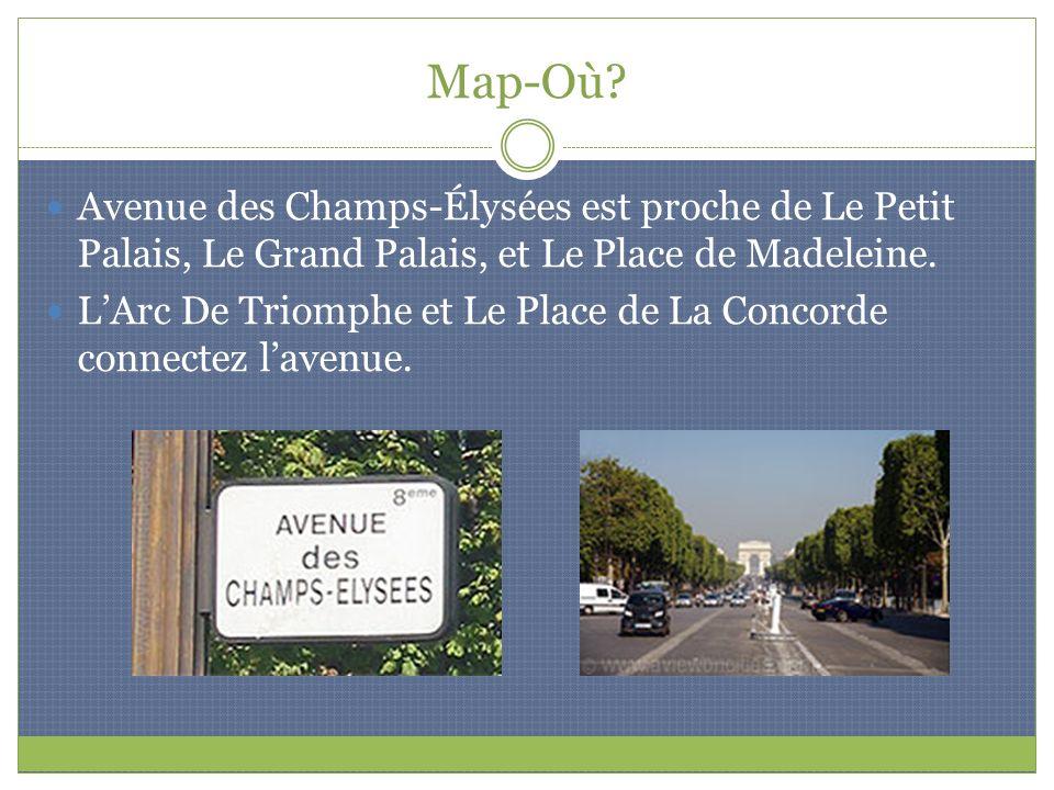 Map-Où Avenue des Champs-Élysées est proche de Le Petit Palais, Le Grand Palais, et Le Place de Madeleine.