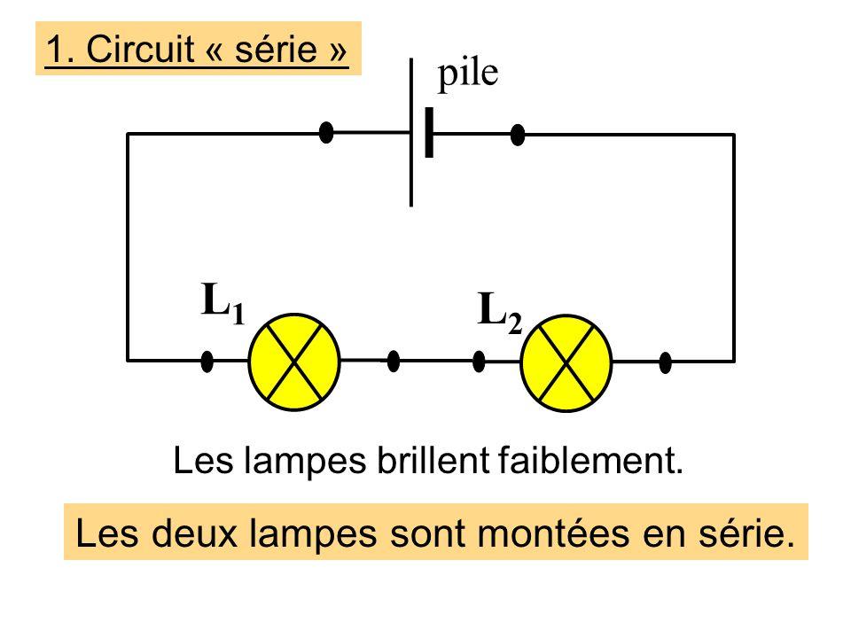 L1 L2 pile Les deux lampes sont montées en série. 1. Circuit « série »