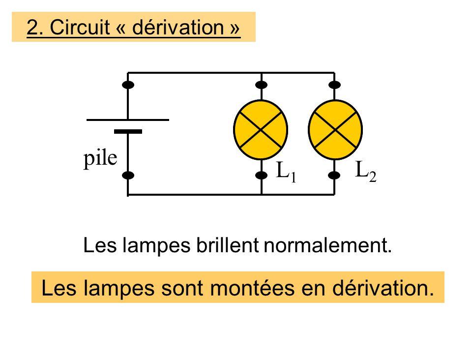 pile L1 L2 Les lampes sont montées en dérivation.