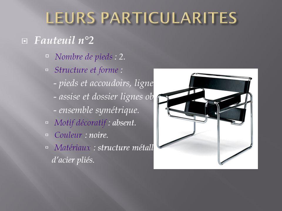 LEURS PARTICULARITES Fauteuil n°2 Nombre de pieds : 2.