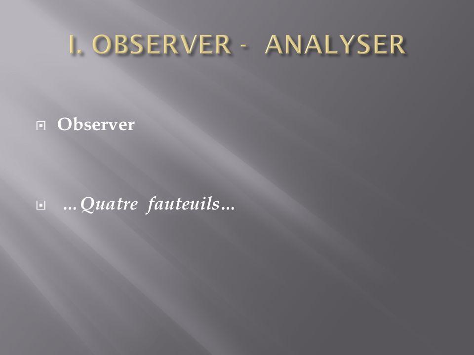 I. OBSERVER - ANALYSER Observer …Quatre fauteuils…