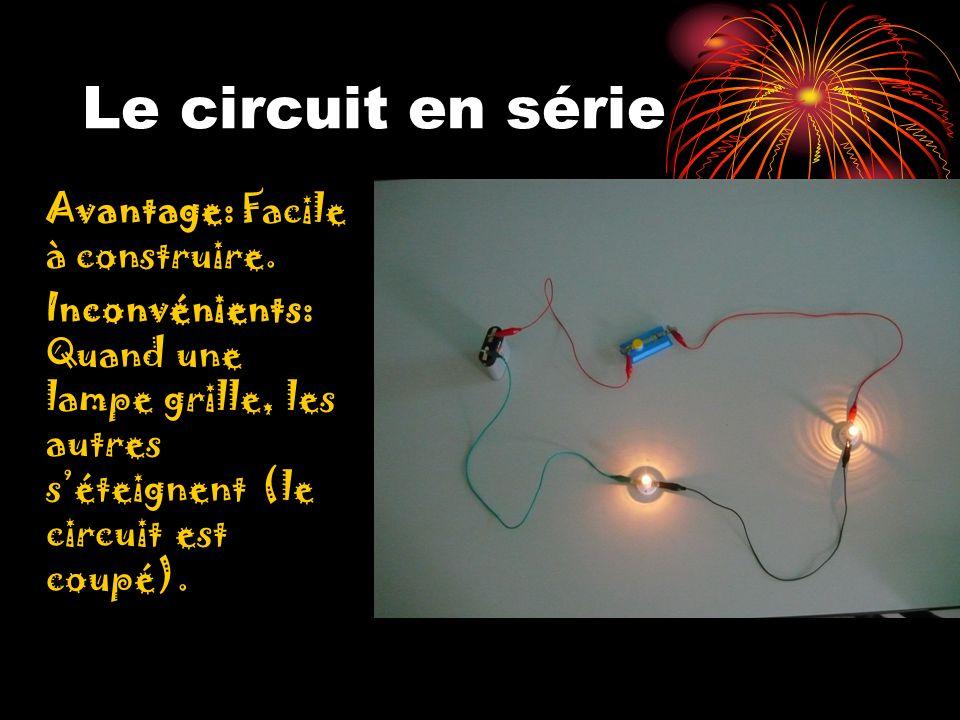 Le circuit en série Avantage: Facile à construire.