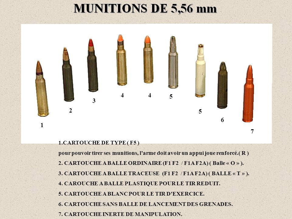 4 4. 5. 3. 2. 5. 6. 1. 7. 1.CARTOUCHE DE TYPE ( F5 ) pour pouvoir tirer ses munitions, l'arme doit avoir un appui joue renforcé.( R )