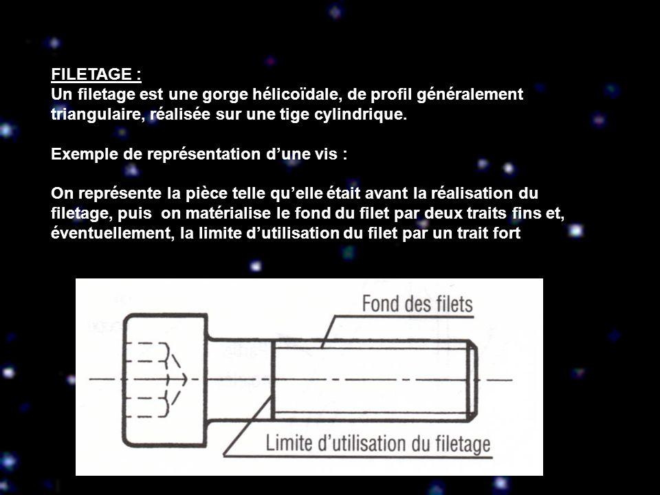 FILETAGE : Un filetage est une gorge hélicoïdale, de profil généralement triangulaire, réalisée sur une tige cylindrique.