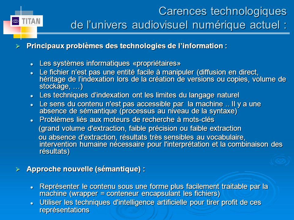 Carences technologiques de l'univers audiovisuel numérique actuel :