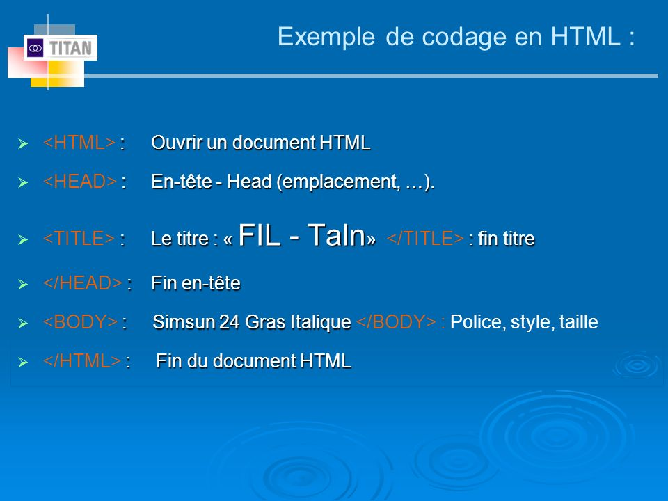 Exemple de codage en HTML :
