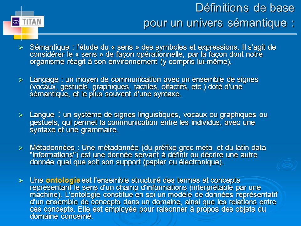 Définitions de base pour un univers sémantique :