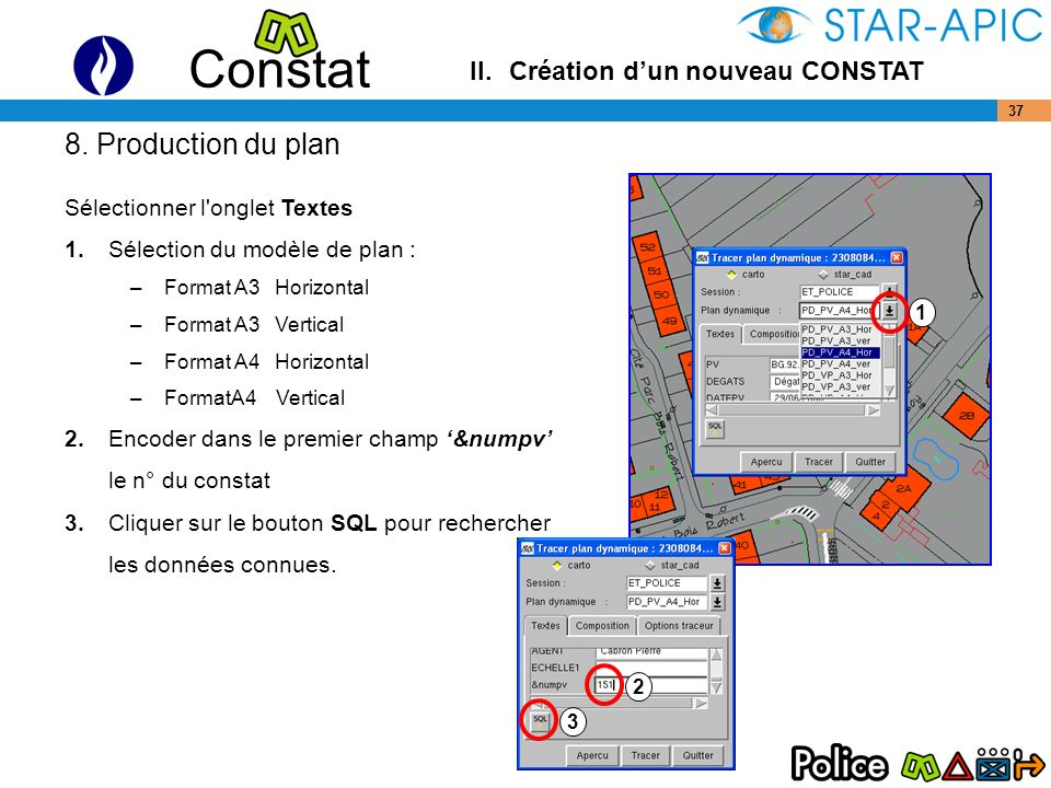 8. Production du plan II. Création d'un nouveau CONSTAT